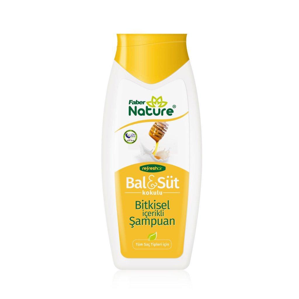 Faber Nature Refresh Hair Bal & Süt İçerikli Bitkisel Saç Şampuanı (400 ml Şişe)