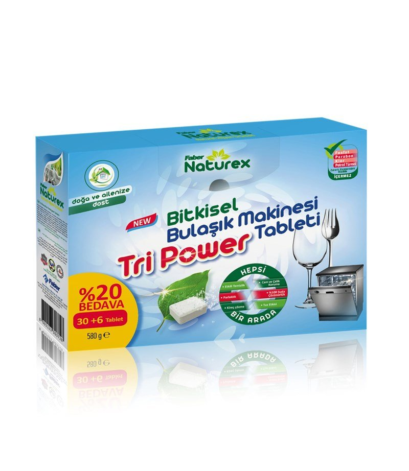 Faber Naturex Tri Power Bulaşık Makinesı Yıkama Tableti (36'lık Tablet Kutu)