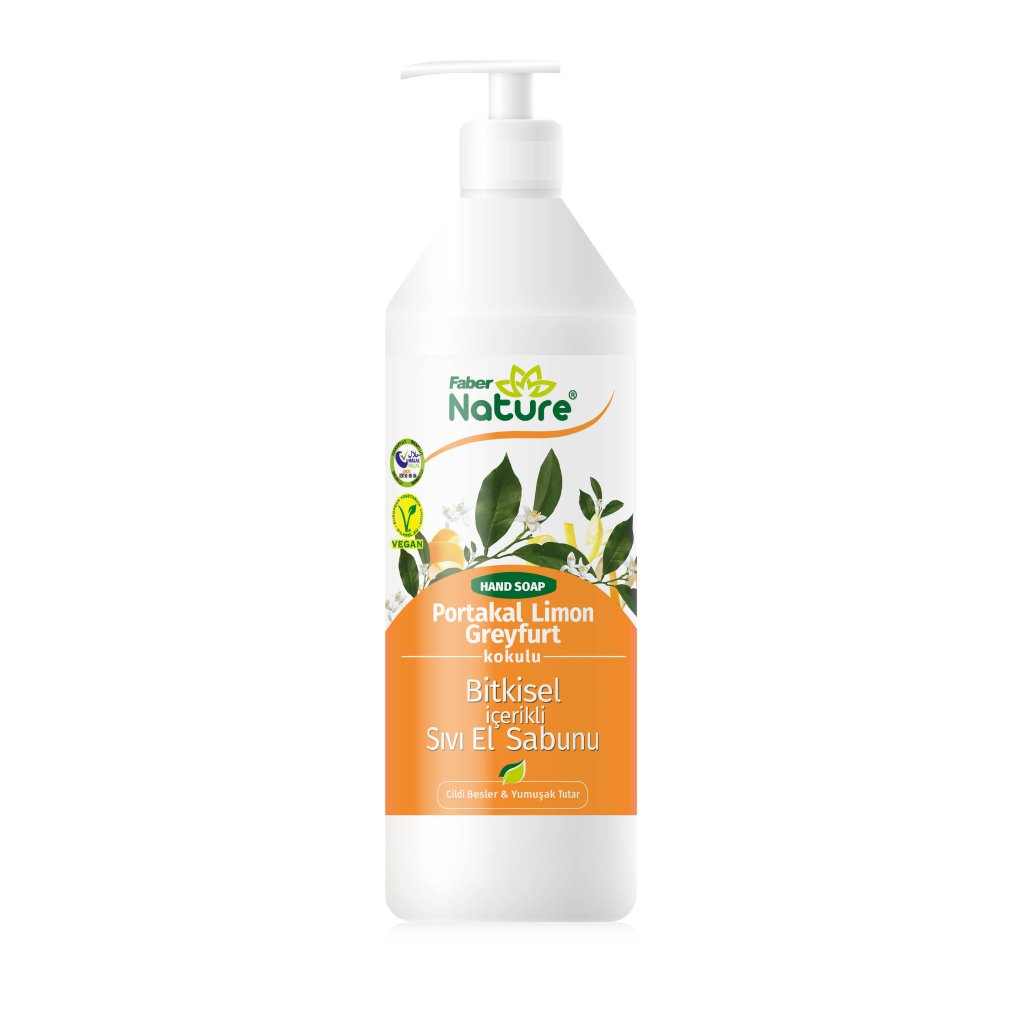 Faber Nature Hand Soap Portakal Limon Greyfurt Sıvı El Sabunu (1L Valfli Şişe)